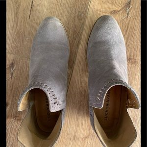 Lucky gray suede booties 6.5
